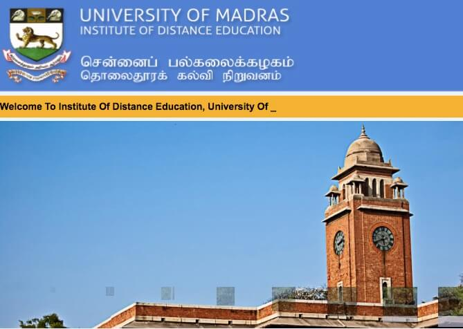 UNOM Distance education admissions,unom admissions,madras university admissions