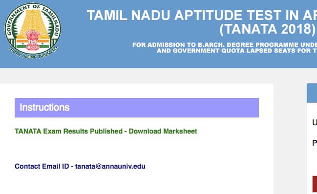 TANATA results,tn barch admissions